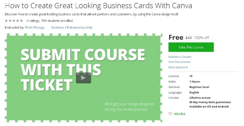 Free Udemy Course on How to Create Great Looking Business Cards With Canva