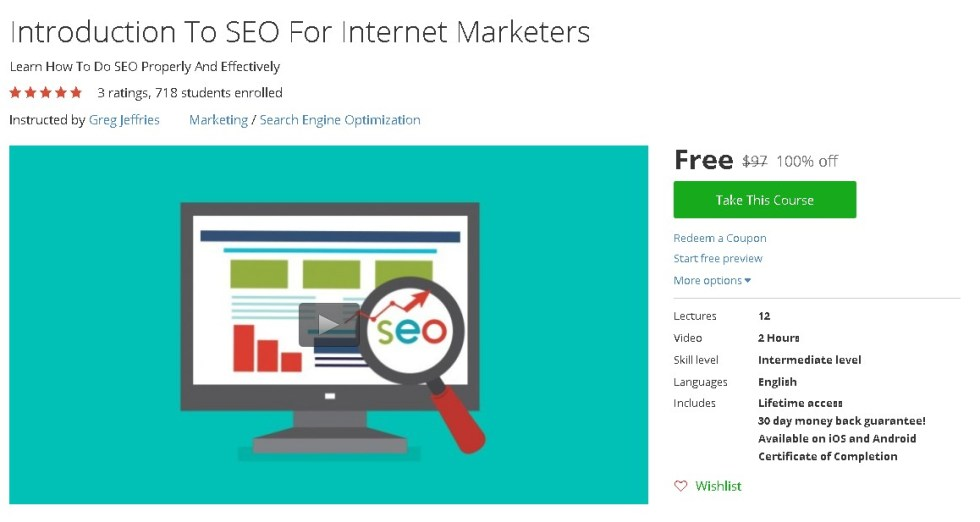 Free Udemy Course on Introduction To SEO For Internet Marketers