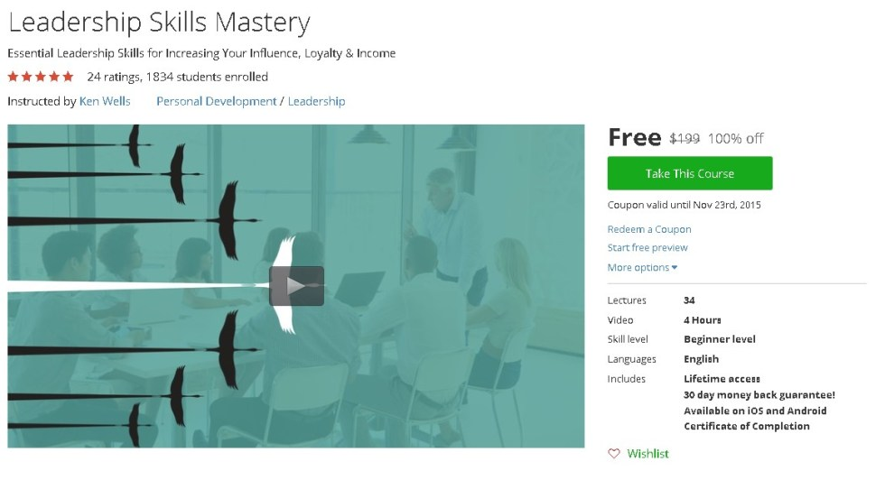 Free Udemy Course on Leadership Skills Mastery