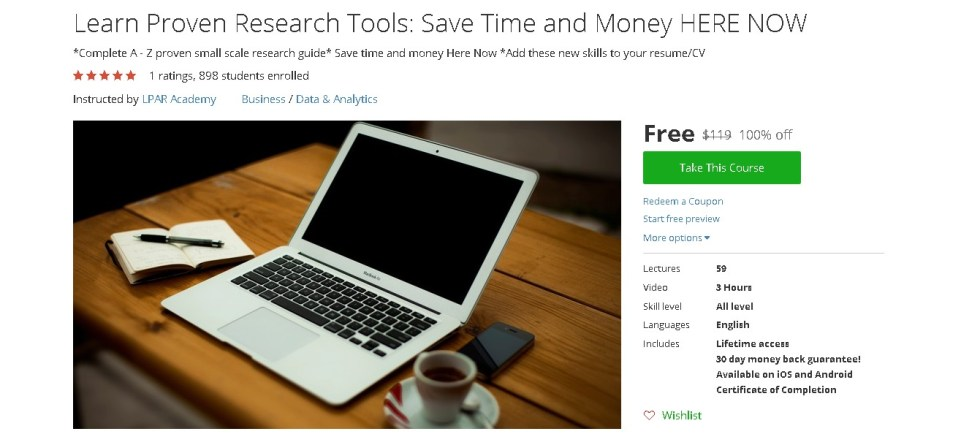Free Udemy Course on Learn Proven Research Tools Save Time and Money HERE NOW