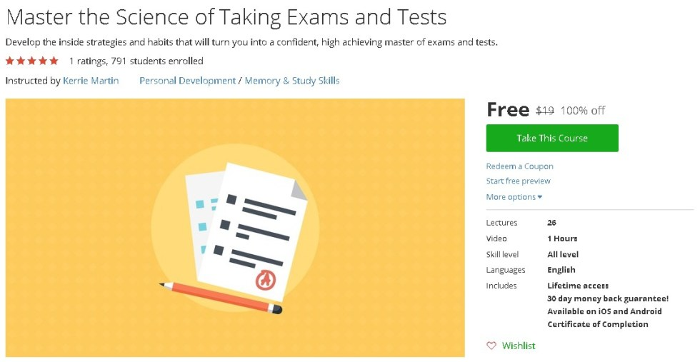 Free Udemy Course on Master the Science of Taking Exams and Tests