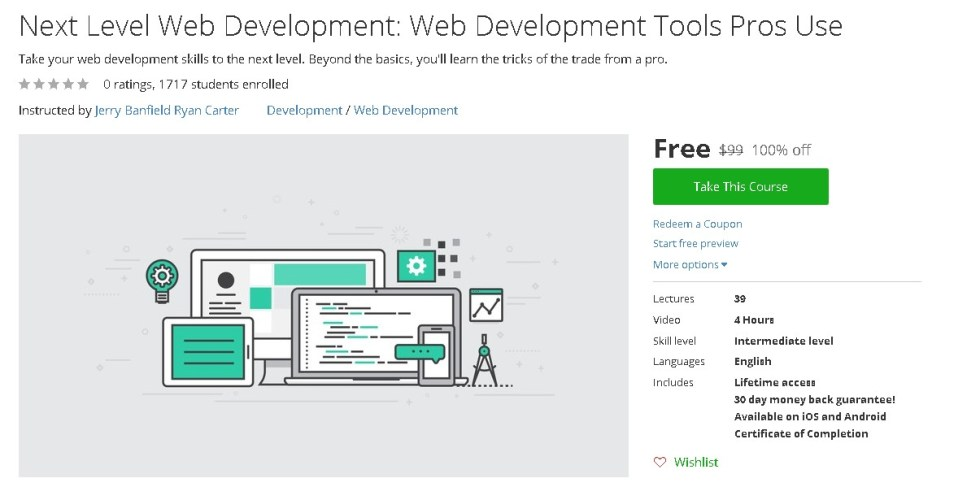 Free Udemy Course on Next Level Web Development Web Development Tools Pros Use