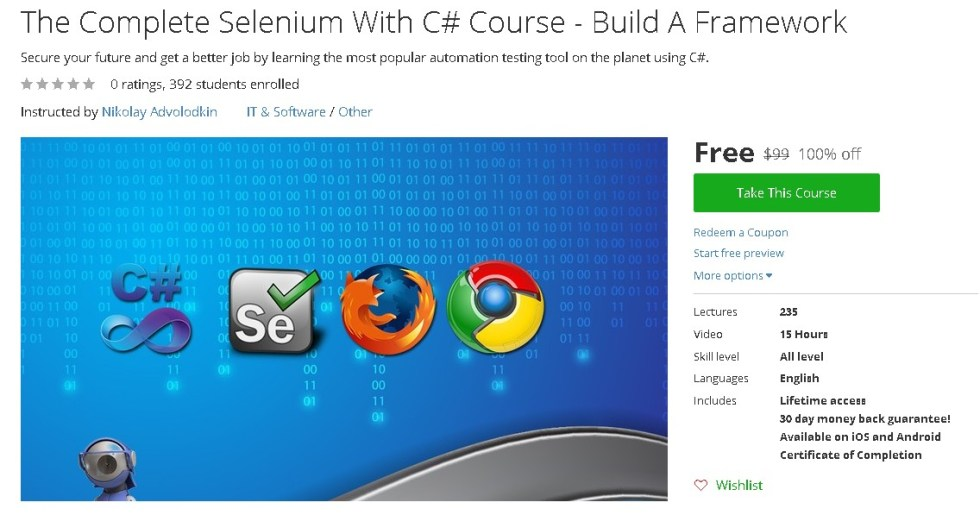 Free Udemy Course on The Complete Selenium With C# Course - Build A Framework