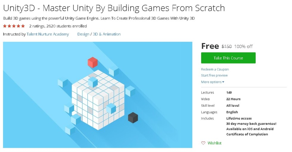 Free Udemy Course on Unity3D - Master Unity By Building Games From Scratch