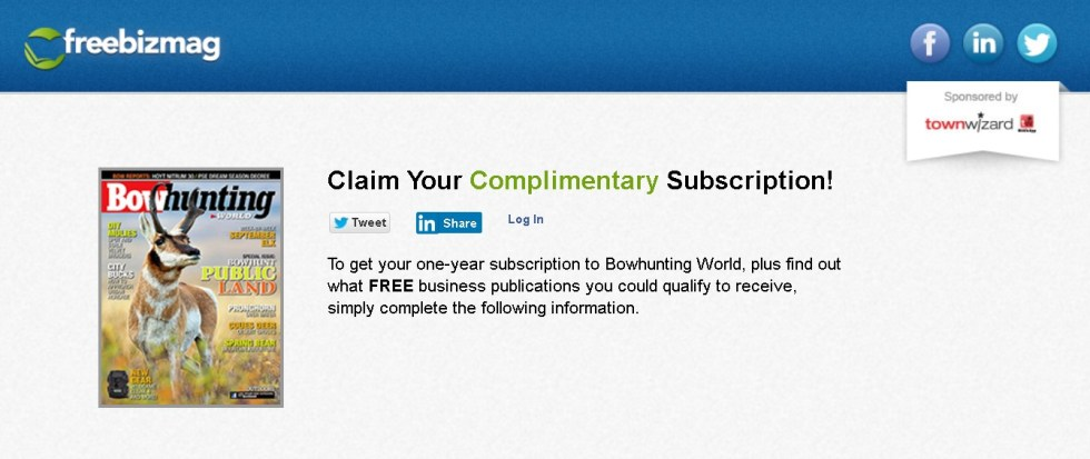 Free one-year subscription to Bowhunting World Magazine