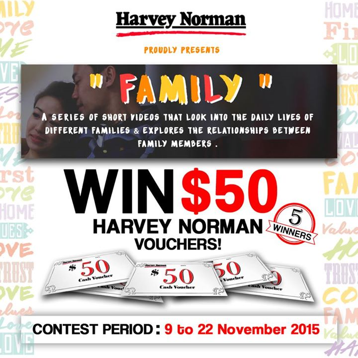 WIN 5 X $50 HARVEY NORMAN VOUCHERS