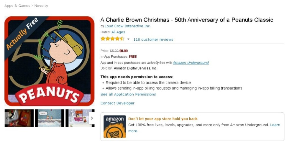 Free App @ Amazon A Charlie Brown Christmas - 50th Anniversary of a Peanuts Classic