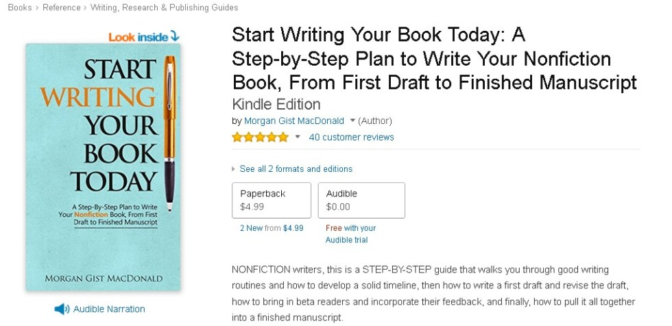 Free  Start Writing Your Book Today A Step-by-Step Plan to Write Your Nonfiction Book, From First Draft to Finished Manuscript Kindle Edition
