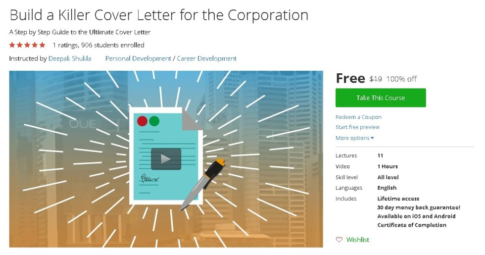 Free Udemy Course on Build a Killer Cover Letter for the Corporation