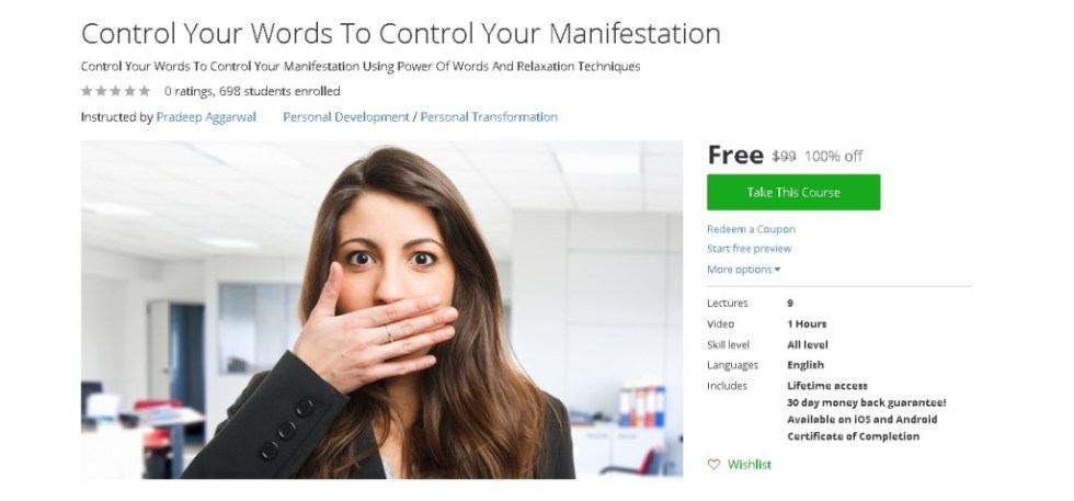 Free Udemy Course on Control Your Words To Control Your Manifestation