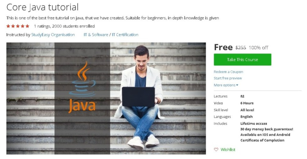Free Udemy Course on Core Java tutorial