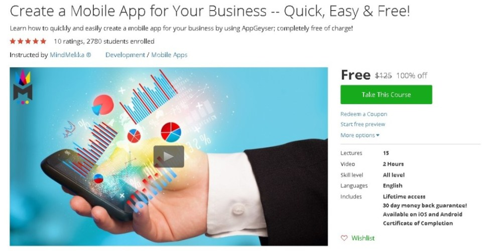 Free Udemy Course on Create a Mobile App for Your Business -- Quick, Easy & Free!
