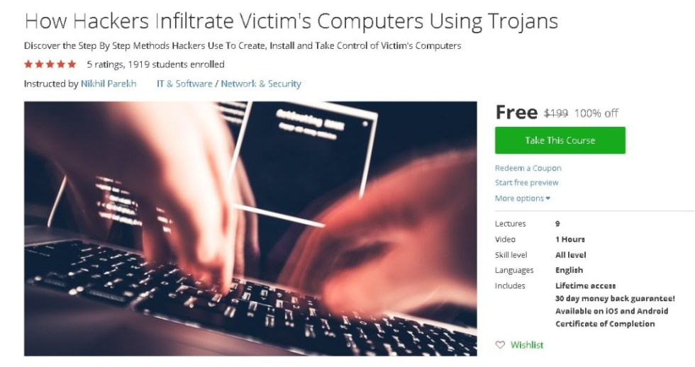 Free Udemy Course on How Hackers Infiltrate Victim's Computers Using Trojans
