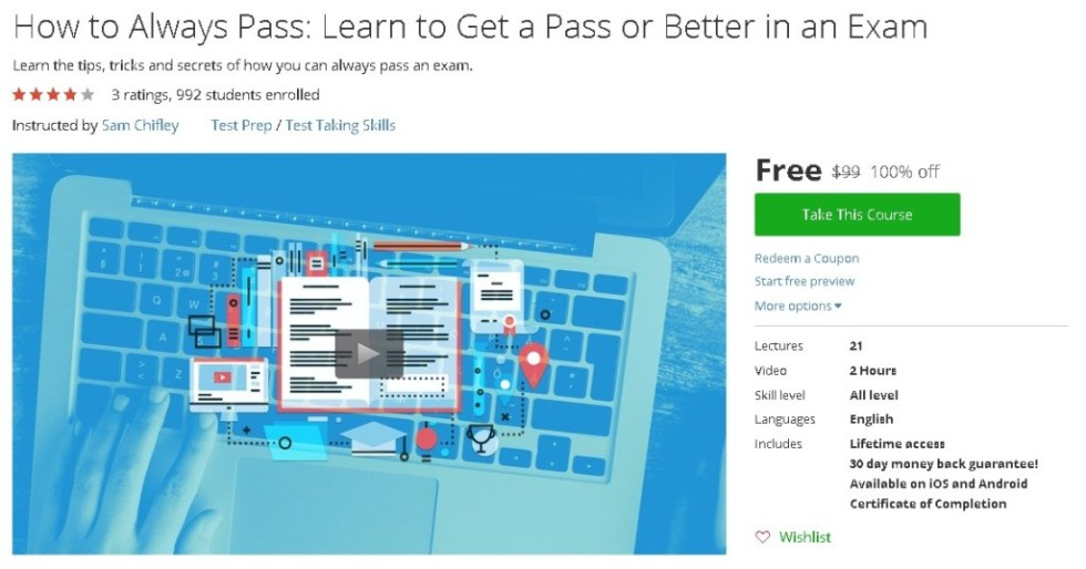Free Udemy Course on How to Always Pass Learn to Get a Pass or Better in an Exam