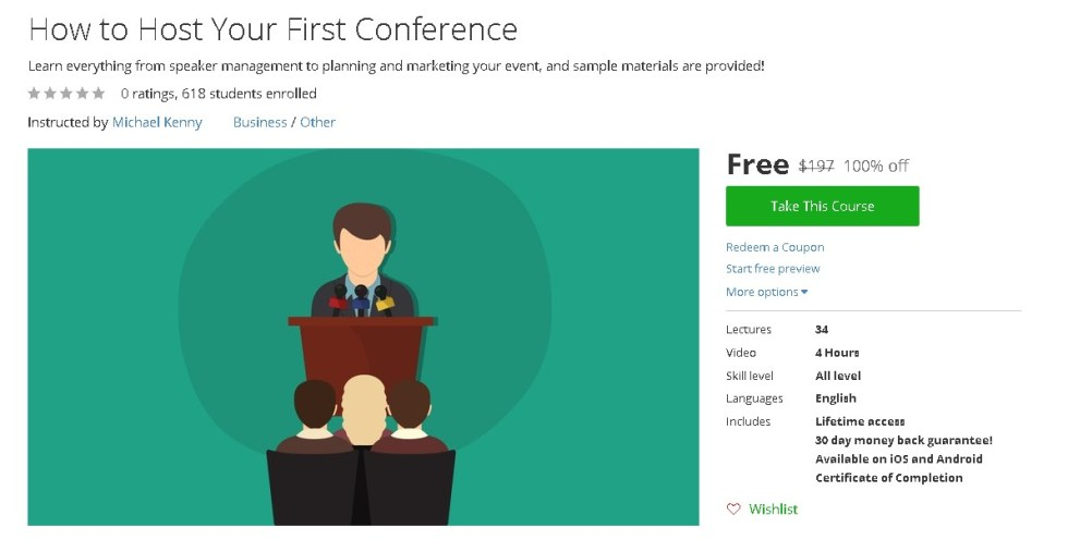 Free Udemy Course on How to Host Your First Conference