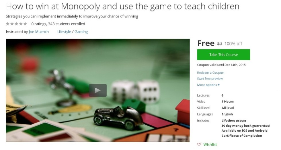 Free Udemy Course on How to win at Monopoly and use the game to teach children