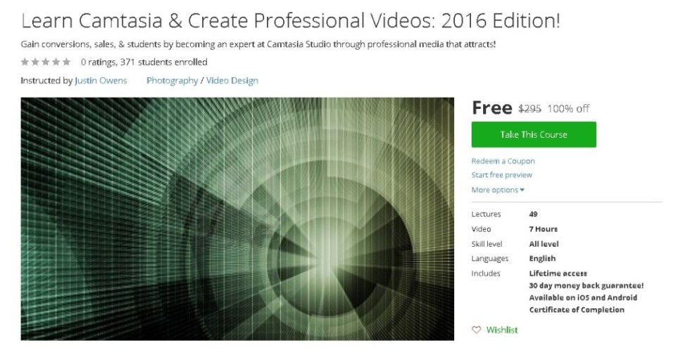 Free Udemy Course on Learn Camtasia & Create Professional Videos 2016 Edition