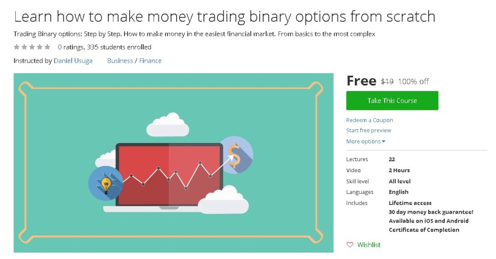 Free Udemy Course on Learn how to make money trading binary options from scratch