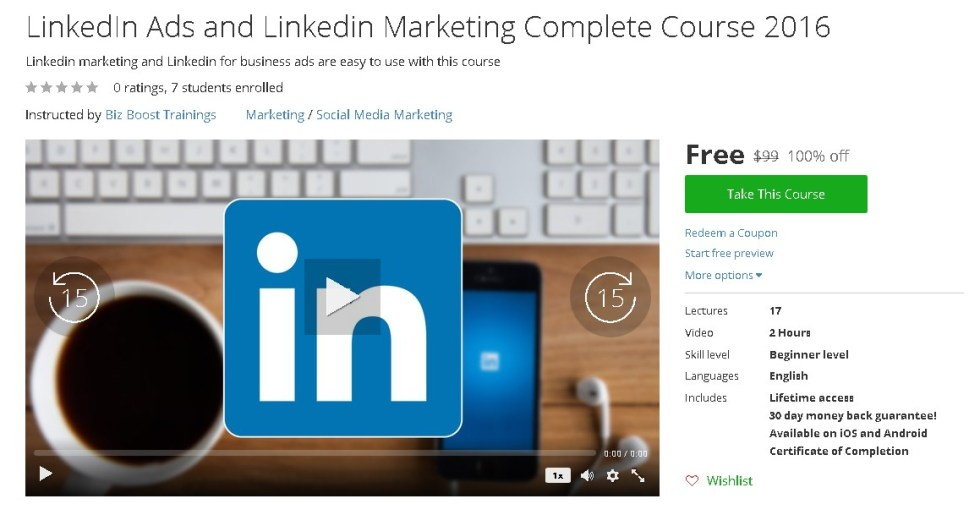 Free Udemy Course on LinkedIn Ads and Linkedin Marketing Complete Course 2016