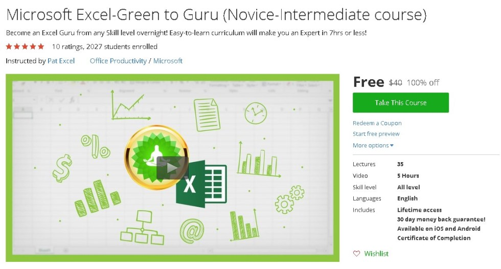 Free Udemy Course on Microsoft Excel-Green to Guru (Novice-Intermediate course)