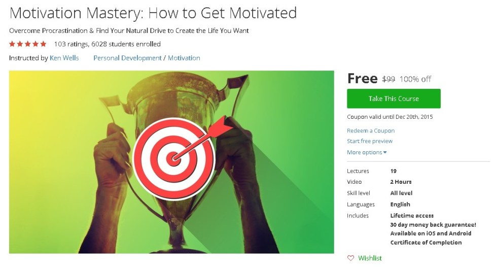 Free Udemy Course on Motivation Mastery How to Get Motivated