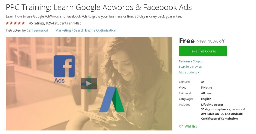 Free Udemy Course on PPC Training Learn Google Adwords & Facebook Ads