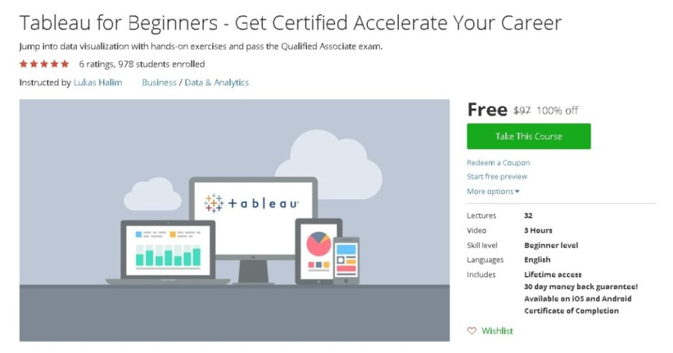 Free Udemy Course on Tableau for Beginners - Get Certified Accelerate Your Career