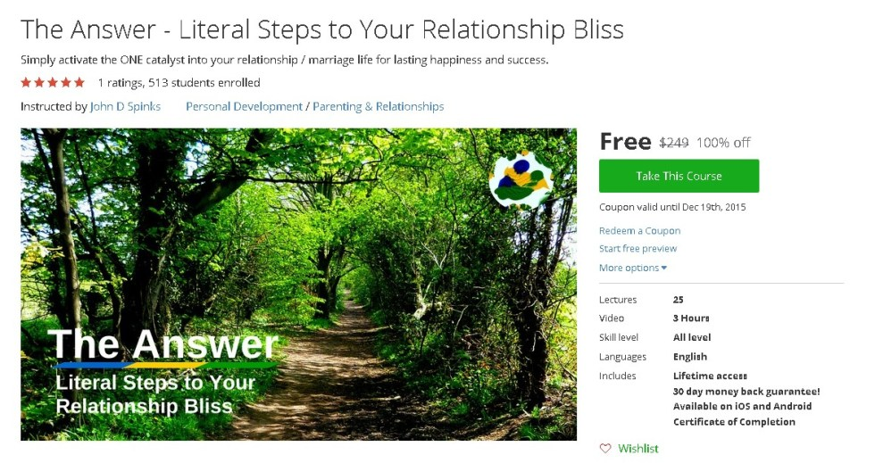 Free Udemy Course on The Answer - Literal Steps to Your Relationship Bliss
