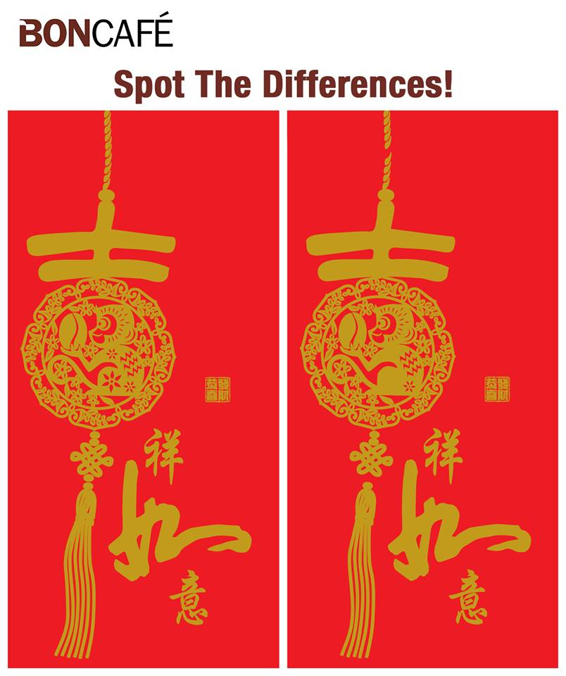 Chinese New Year Red Packet – Spot the Difference at Boncafe International - Singapore