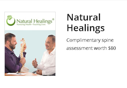 Complimentary spine assessment worth $80 at Natural Healings at Income Treats