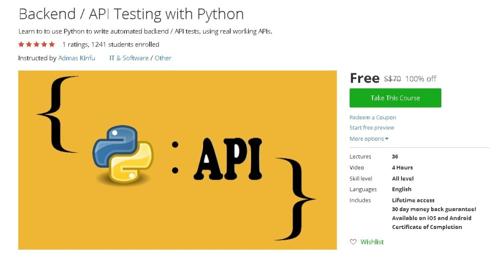 Free Udemy Course on Backend API Testing with Python