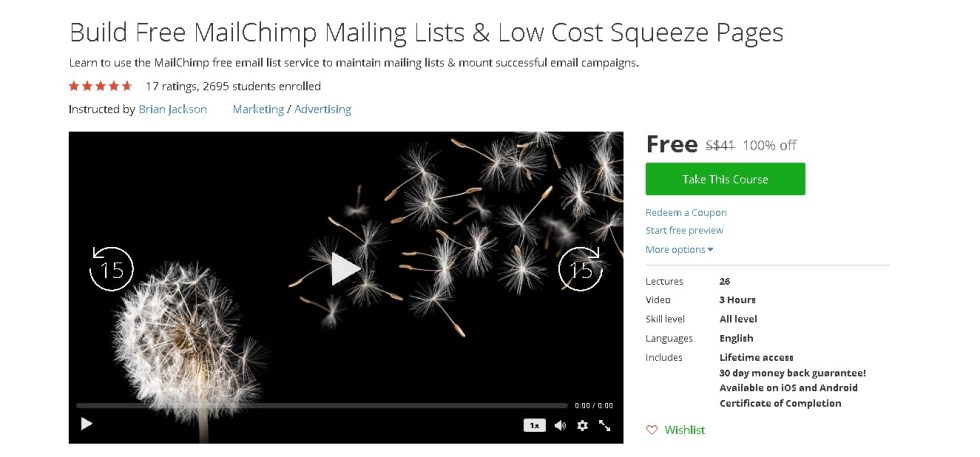 Free Udemy Course on Build Free MailChimp Mailing Lists & Low Cost Squeeze Pages