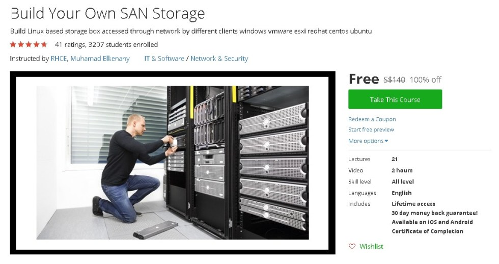 Free Udemy Course on Build Your Own SAN Storage