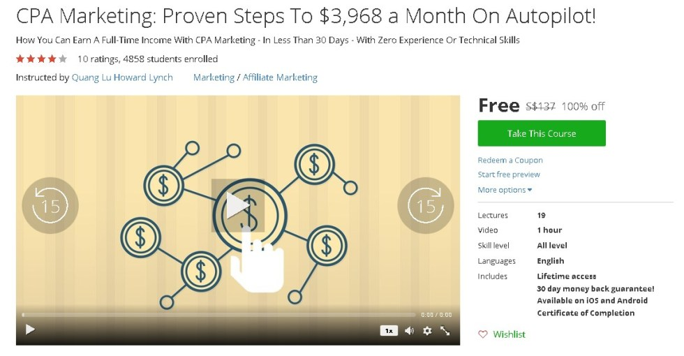 Free Udemy Course on CPA Marketing Proven Steps To $3,968 a Month On Autopilot!