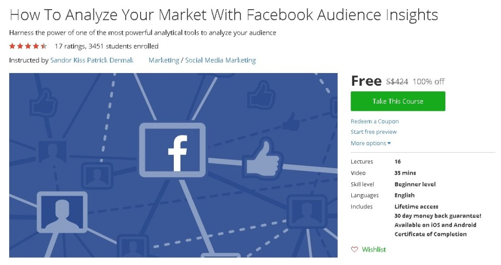 Free Udemy Course on How To Analyze Your Market With Facebook Audience Insights
