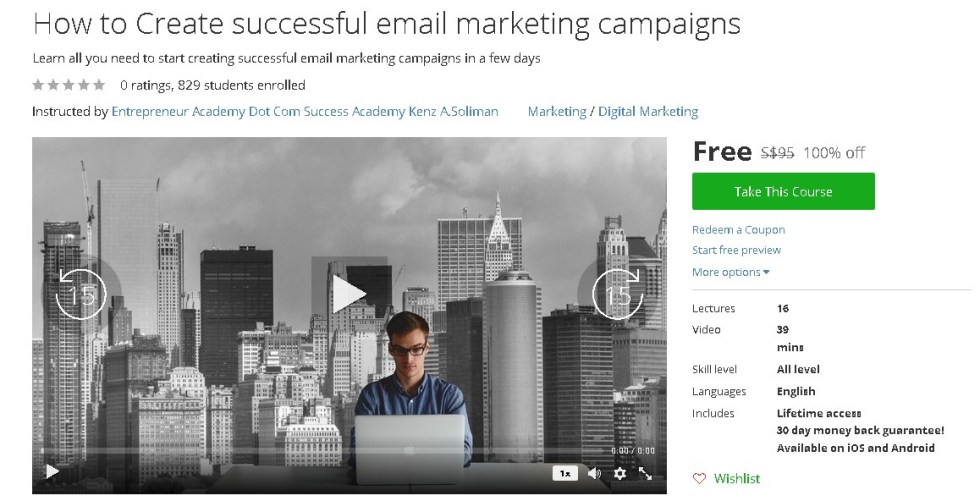 Free Udemy Course on How to Create successful email marketing campaigns