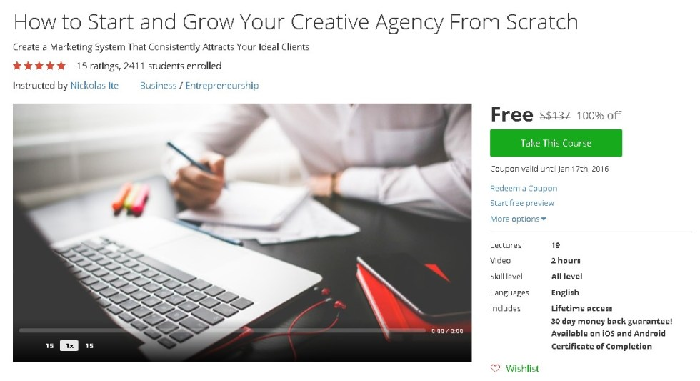 Free Udemy Course on How to Start and Grow Your Creative Agency From Scratch