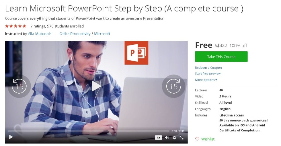 Free Udemy Course on Learn Microsoft PowerPoint Step by Step (A complete course )