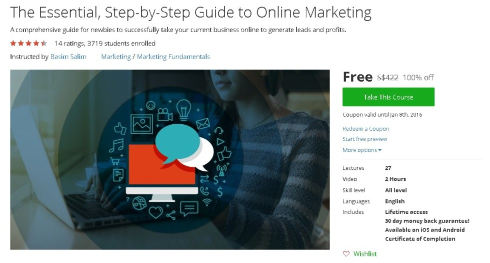 Free Udemy Course on The Essential, Step-by-Step Guide to Online Marketing #giftout
