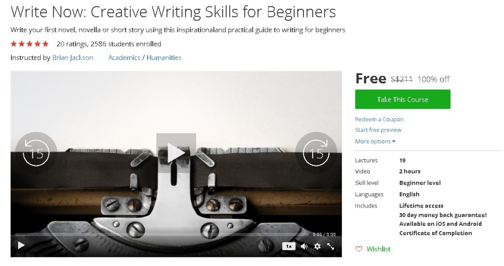 Free Udemy Course on Write Now Creative Writing Skills for Beginners