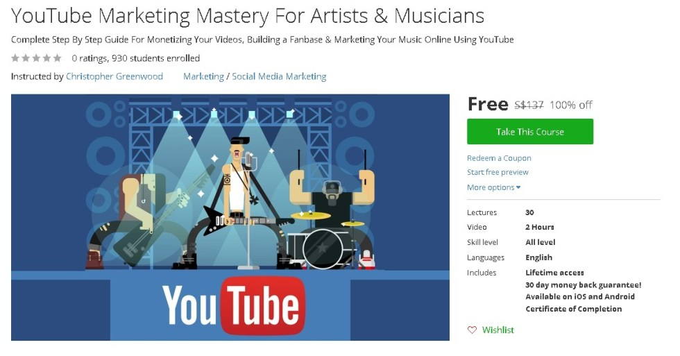 Free Udemy Course on YouTube Marketing Mastery For Artists & Musicians