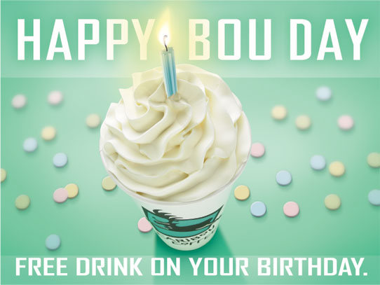 We herd it's your birthday soon. Celebrate with a free drink on us at Caribou Coffee