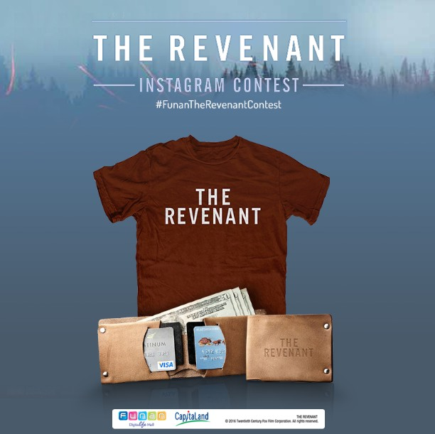 Win a movie hamper each, which includes an exclusive 'The Revenant' T-shirt and leather wallet at Funan DigitaLife Mall