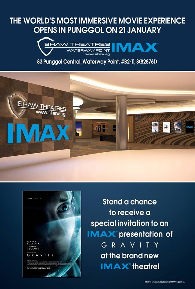 Win special invites for 30 Shaw Theatres patrons to watch an IMAX presentation of Gravity at the brand new IMAX theatre