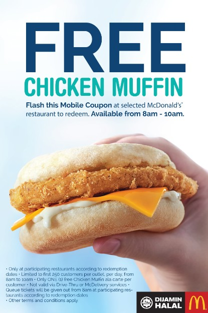 Free Chicken Muffin at McDonald's Malaysia