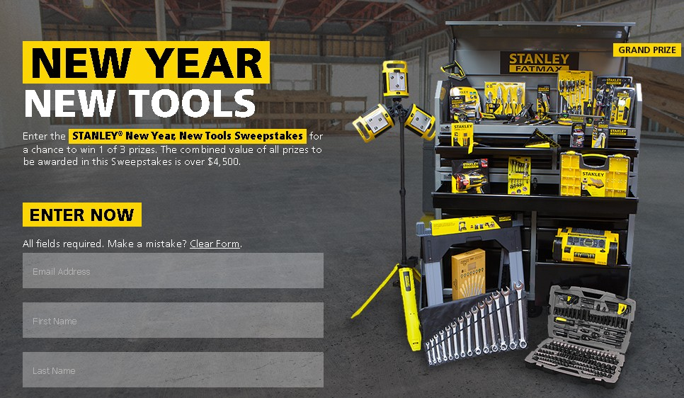 STANLEY® New Year, New Tools Sweepstakes