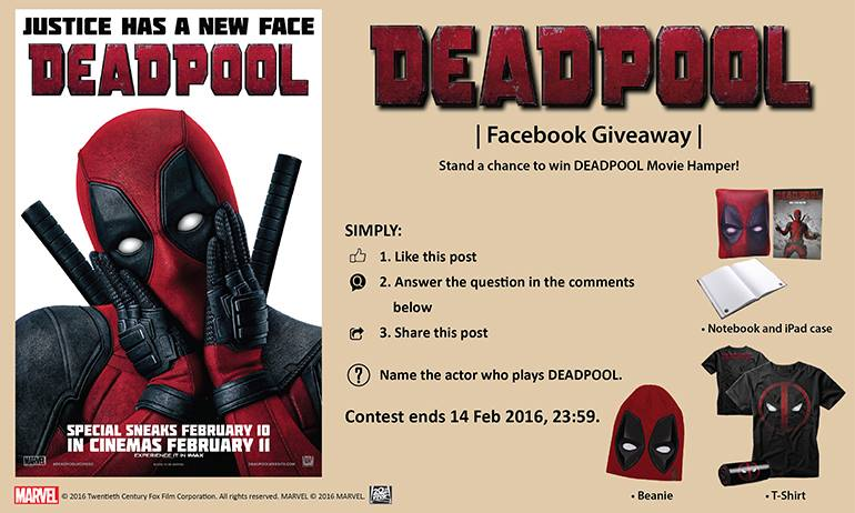 Stand a chance to win DEADPOOL movie hamper at Filmgarde Cineplex