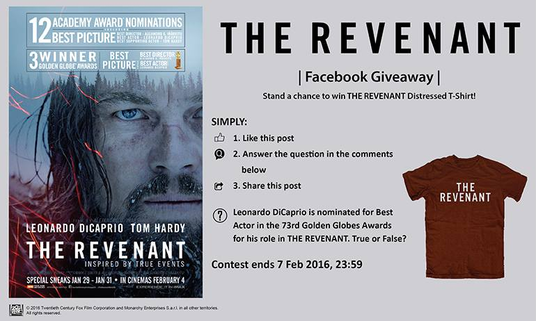 Stand a chance to win THE REVENANT Distressed T-Shirt at Filmgarde Cineplex