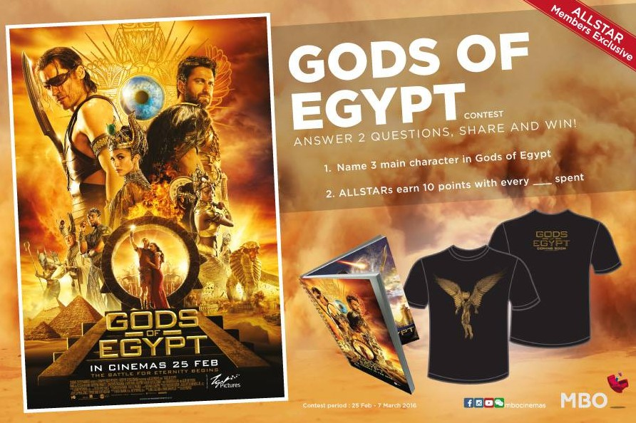 Win Gods Of Egypt movie merchandise at MBO Cinemas Malaysia