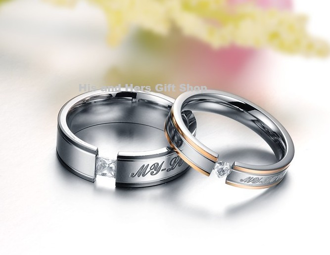 Win Stainless Steel Couple Ring Set at His And Hers Gift Shop